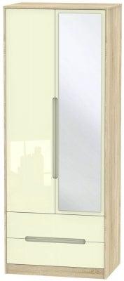 Monaco 2 Door Combi Wardrobe - High Gloss Cream and Bardolino