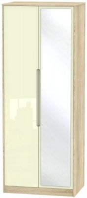 Monaco 2 Door Tall Mirror Wardrobe - High Gloss Cream and Bardolino