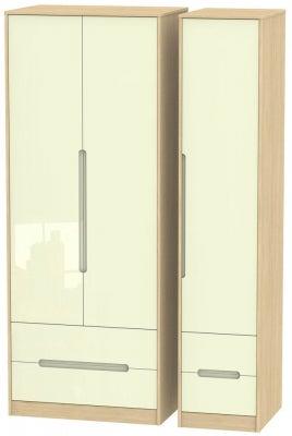 Monaco 3 Door 4 Drawer Tall Triple Wardrobe - High Gloss Cream and Light Oak
