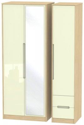 Monaco 3 Door 2 Right Drawer Tall Combi Wardrobe - High Gloss Cream and Light Oak