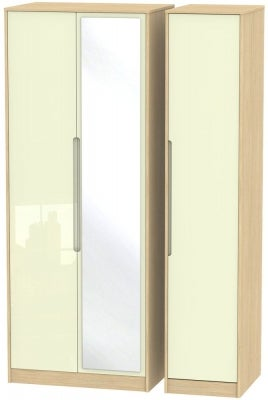 Monaco 3 Door Tall Mirror Wardrobe - High Gloss Cream and Light Oak