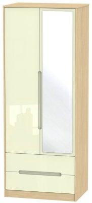 Monaco 2 Door Combi Wardrobe - High Gloss Cream and Light Oak