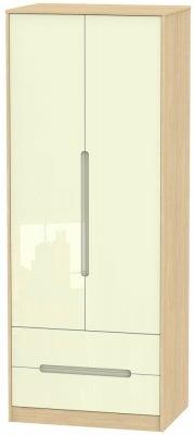 Monaco 2 Door 2 Drawer Tall Wardrobe - High Gloss Cream and Light Oak