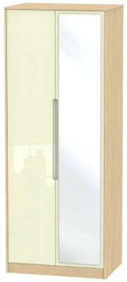Monaco 2 Door Tall Mirror Wardrobe - High Gloss Cream and Light Oak