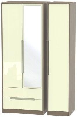 Monaco 3 Door 2 Left Drawer Tall Combi Wardrobe - High Gloss Cream and Toronto Walnut
