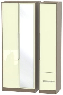 Monaco 3 Door 2 Right Drawer Tall Combi Wardrobe - High Gloss Cream and Toronto Walnut