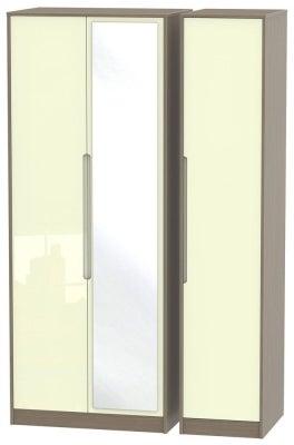 Monaco 3 Door Tall Mirror Wardrobe - High Gloss Cream and Toronto Walnut