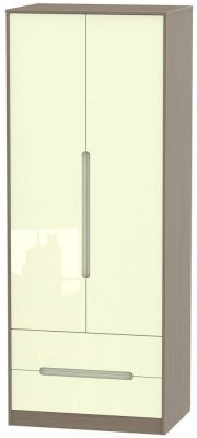 Monaco 2 Door 2 Drawer Tall Wardrobe - High Gloss Cream and Toronto Walnut
