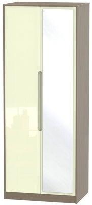 Monaco 2 Door Tall Mirror Wardrobe - High Gloss Cream and Toronto Walnut
