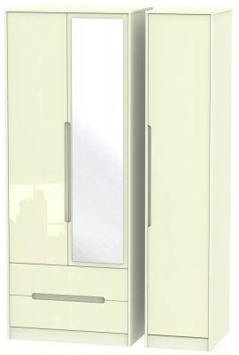 Monaco High Gloss Cream 3 Door 2 Left Drawer Tall Combi Wardrobe