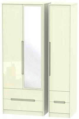 Monaco High Gloss Cream 3 Door 4 Drawer Tall Combi Wardrobe