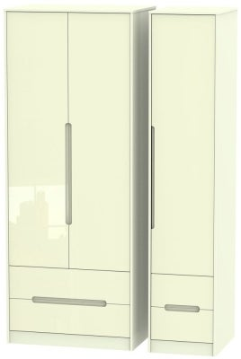 Monaco High Gloss Cream 3 Door 4 Drawer Tall Wardrobe