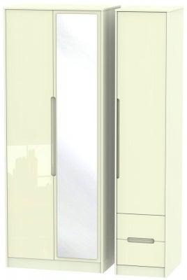 Monaco High Gloss Cream 3 Door 2 Right Drawer Tall Combi Wardrobe