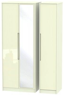 Monaco High Gloss Cream 3 Door Tall Mirror Wardrobe