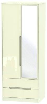 Monaco High Gloss Cream 2 Door Tall Combi Wardrobe