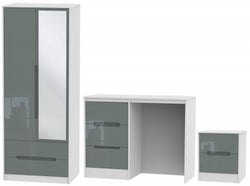 Monaco High Gloss Grey and White 3 Piece Bedroom Set with 2 Door Mirror Wardrobe