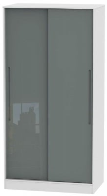 Monaco 2 Door Sliding Wardrobe - High Gloss Grey and White