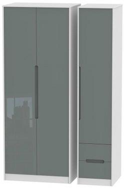 Monaco 3 Door 2 Right Drawer Tall Wardrobe - High Gloss Grey and White