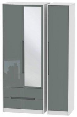Monaco 3 Door 2 Left Drawer Tall Combi Wardrobe - High Gloss Grey and White