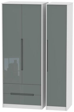 Monaco 3 Door 2 Left Drawer Tall Wardrobe - High Gloss Grey and White