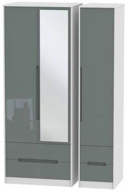 Monaco 3 Door 4 Drawer Tall Combi Wardrobe - High Gloss Grey and White