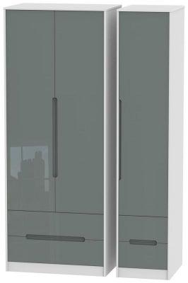 Monaco 3 Door 4 Drawer Tall Wardrobe - High Gloss Grey and White