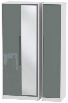 Monaco 3 Door Tall Mirror Wardrobe - High Gloss Grey and White