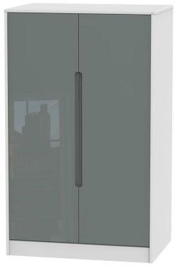 Monaco 2 Door Midi Wardrobe - High Gloss Grey and White