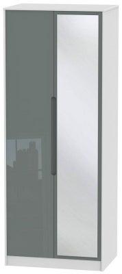 Monaco 2 Door Tall Mirror Wardrobe - High Gloss Grey and White