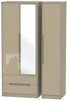 Monaco 3 Door 2 Left Drawer Tall Combi Wardrobe - High Gloss Mushroom and Darkolino