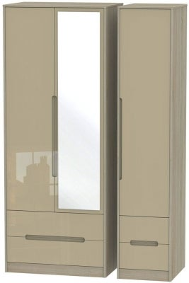 Monaco 3 Door 4 Drawer Tall Combi Wardrobe - High Gloss Mushroom and Darkolino