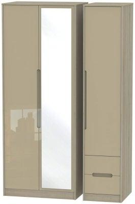 Monaco 3 Door 2 Right Drawer Tall Combi Wardrobe - High Gloss Mushroom and Darkolino