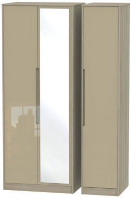 Monaco 3 Door Tall Mirror Wardrobe - High Gloss Mushroom and Darkolino