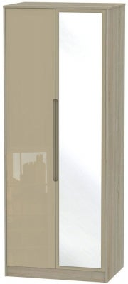 Monaco 2 Door Tall Mirror Wardrobe - High Gloss Mushroom and Darkolino