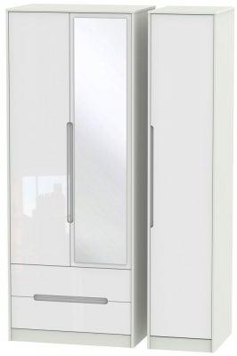 Monaco 3 Door 2 Left Drawer Tall Combi Wardrobe - High Gloss White and Kaschmir
