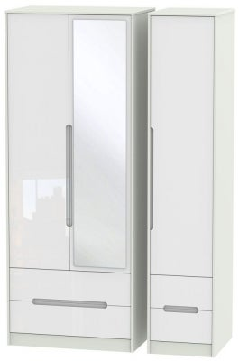 Monaco 3 Door 4 Drawer Tall Combi Wardrobe - High Gloss White and Kaschmir
