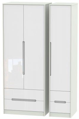 Monaco 3 Door 4 Drawer Tall Wardrobe - High Gloss White and Kaschmir