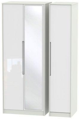 Monaco 3 Door Tall Mirror Wardrobe - High Gloss White and Kaschmir