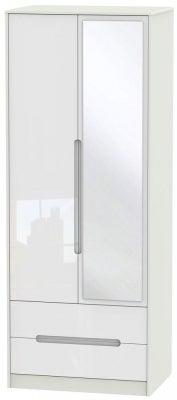 Monaco 2 Door Tall Combi Wardrobe - High Gloss White and Kaschmir