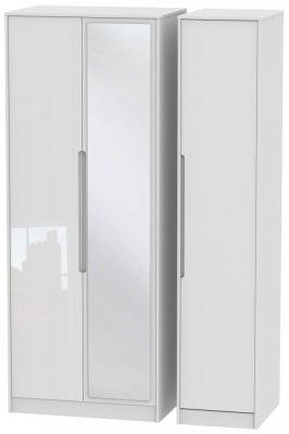 Monaco High Gloss White 3 Door Tall Mirror Wardrobe