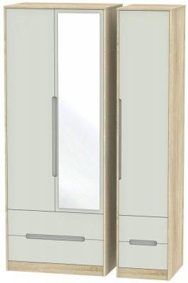 Monaco 3 Door 4 Drawer Tall Combi Wardrobe - Kaschmir Matt and Bardolino