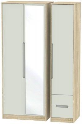 Monaco 3 Door 2 Right Drawer Tall Combi Wardrobe - Kaschmir Matt and Bardolino