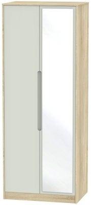 Monaco 2 Door Tall Mirror Wardrobe - Kaschmir Matt and Bardolino