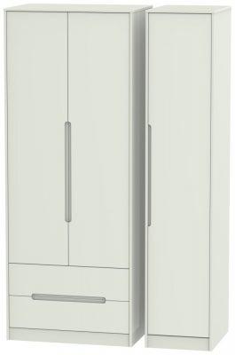 Monaco Kaschmir Matt 3 Door 2 Left Drawer Tall Wardrobe