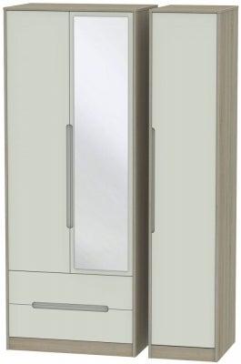 Monaco 3 Door 2 Left Drawer Tall Combi Wardrobe - Kaschmir and Darkolino