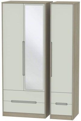 Monaco 3 Door 4 Drawer Tall Combi Wardrobe - Kaschmir and Darkolino