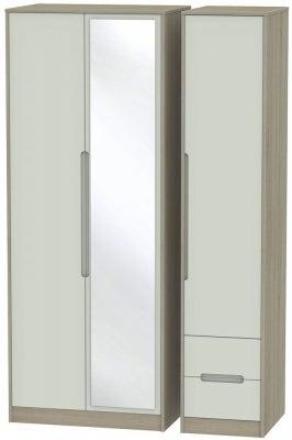 Monaco 3 Door 2 Right Drawer Tall Combi Wardrobe - Kaschmir and Darkolino