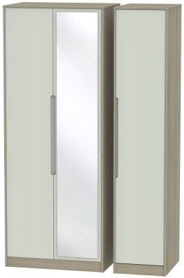 Monaco 3 Door Tall Mirror Wardrobe - Kaschmir and Darkolino