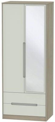 Monaco 2 Door Tall Combi Wardrobe - Kaschmir and Darkolino