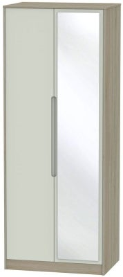 Monaco 2 Door Tall Mirror Wardrobe - Kaschmir and Darkolino